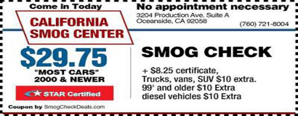 $29.75 Smog Check - Oceanside DMV STAR Station